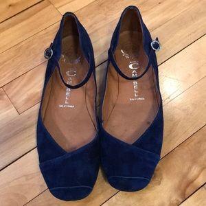 Jeffrey Campbell deep royal suede Mary Jane flats